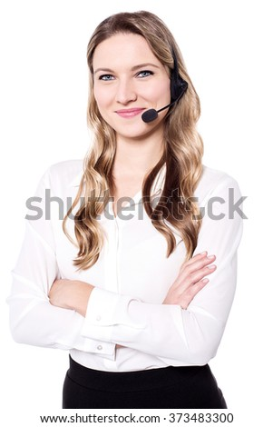 Confident attractive woman with headphone over white - stock photo