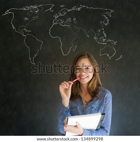Confident beautiful business woman, teacher or student with chalk geography world map on blackboard background