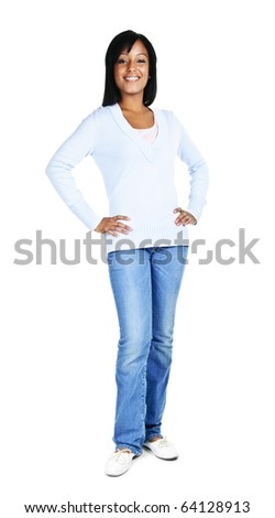 Confident black woman standing isolated on white background - stock photo
