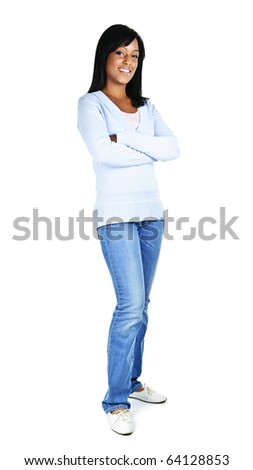 Confident black woman with arms crossed standing isolated on white background - stock photo