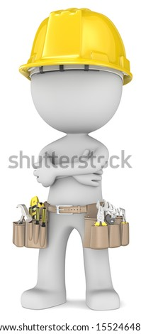 Confident bulider. Dude the carpenter arms crossed in a confident pose. - stock photo