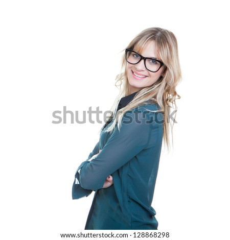 confident busines woman arms folded happy and smiling - stock photo