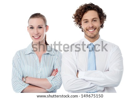Confident business colleagues over white background - stock photo
