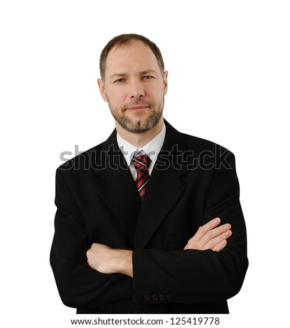 Confident business man isolated on white background - stock photo