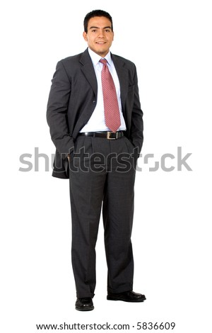 confident business man standing and smiling - isolated over a white background