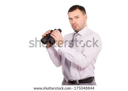 Confident business man with binoculars. Serious man, a sales agent and insurance agent in finding customers. Man of business isolated on white background. Sees the goal. Knows strategy. - stock photo