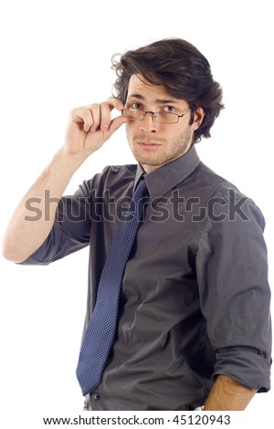 Confident business man with glasses isolated on white background