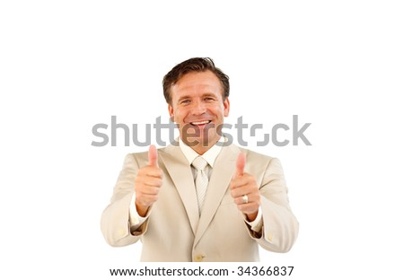 Confident business manager smiling at the camera with thumbs up