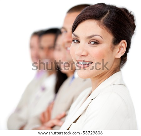 Confident business people standing in a line against a white background