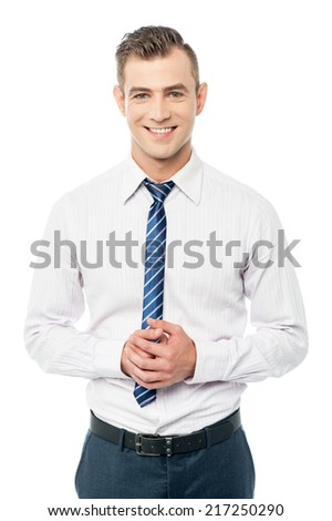 Confident business professional holding his hands clasped - stock photo