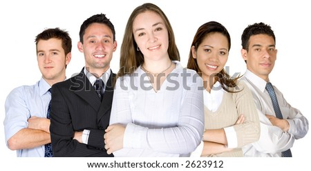 confident business woman and her team formed by diverse business people over a white background - stock photo