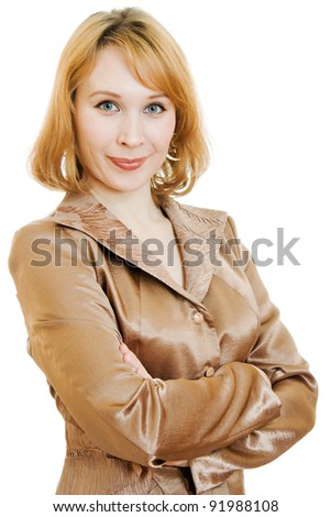 Confident business woman in a gold suit on a white background.
