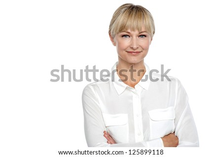 Confident business woman isolated over white background. - stock photo