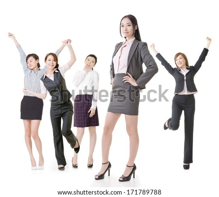 Confident business woman lead her excited team, full length portrait of group people isolated on white background.