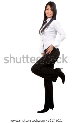 confident business woman leaning against something wearing elegant clothes - isolated over a white background - stock photo