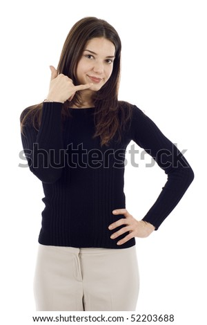Confident business woman making a call me gesture isolated over a white background - stock photo