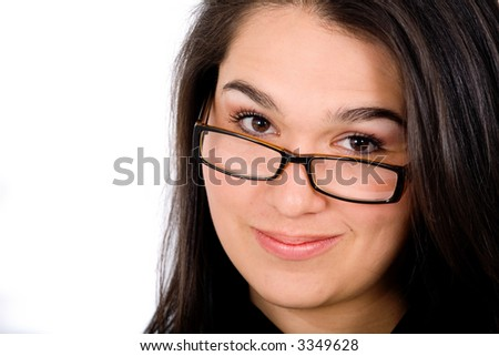 confident business woman portrait wearing glasses - isolated over a white background