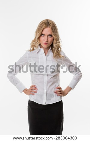 Confident business woman. Serious look business woman. - stock photo