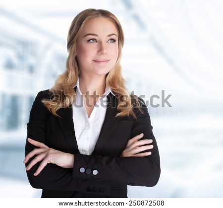 Confident business woman standing in the office, CEO of great corporate, successful career, female in the modern work place, professional people lifestyle - stock photo