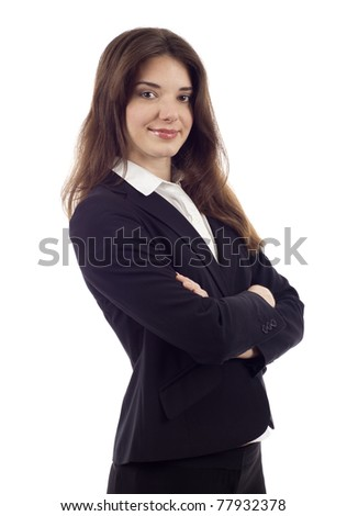 Confident business woman standing with folded hand isolated over white background - stock photo