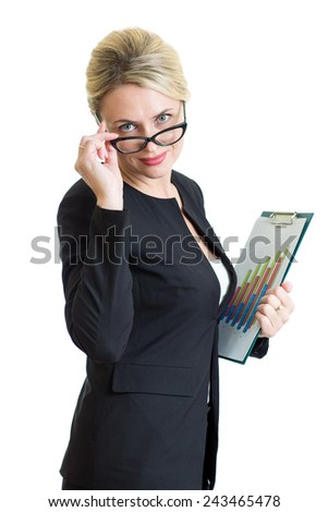 confident business woman weared eyeglasses holding documents isolated on white