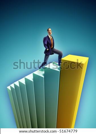 Confident businessman climbing a bar chart. Digital illustration - stock photo