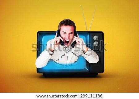 Confident businessman having a phone call against orange background - stock photo