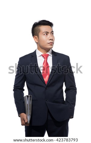 Confident businessman holding a document wallet standing with hand in pocket on white background