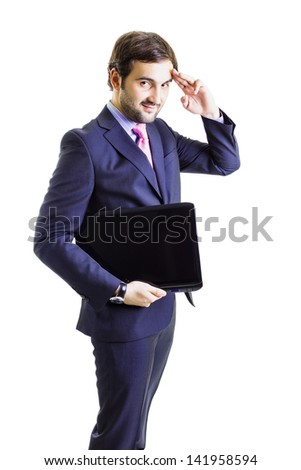 Confident businessman holding a  notebook,with left hand raised sending greetings,  white background. - stock photo