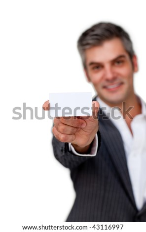 Confident businessman holding a white card against a white background - stock photo