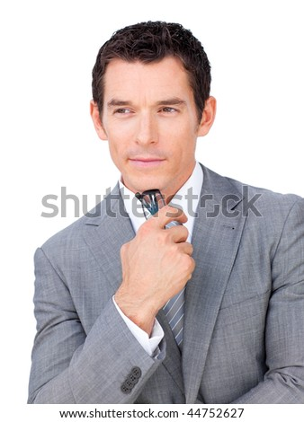 Confident businessman holding glasses isolated on a white background