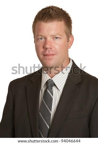 Confident businessman isolated on white background - stock photo