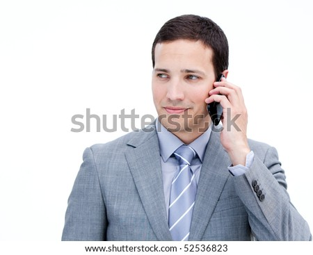 Confident businessman on phone standing against a white background