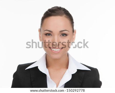 Confident businessman. Portrait of cheerful young businessman looking at camera while isolated on white - stock photo