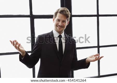 Confident businessman posing for camera, portrait - stock photo