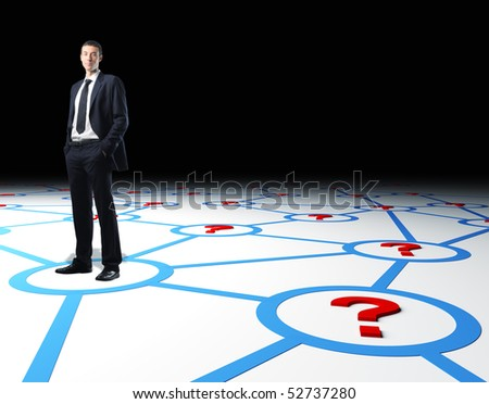 confident businessman standing on 3d virtual connection web