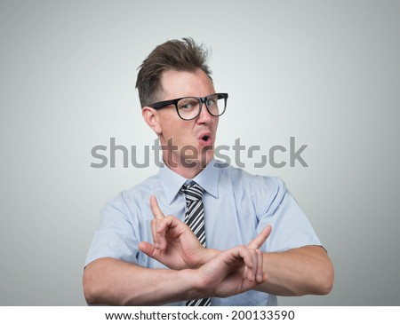 Confident businessman with glasses - stock photo