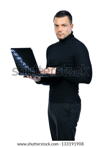 Confident businessman with notebook computer isolated on white - stock photo