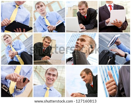 Confident businessman working outdoor. Business concept