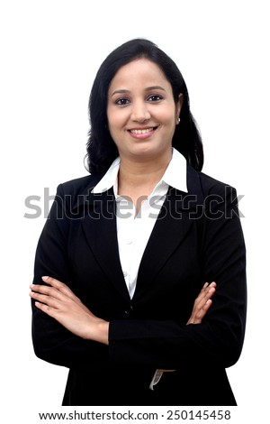 Confident Businesswoman against white background - stock photo