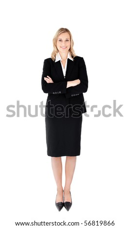 Confident businesswoman against white background in a black suit