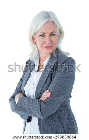 Confident businesswoman arms crossed on white background - stock photo