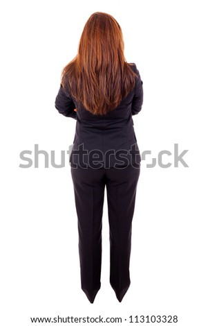 Confident businesswoman from behind, isolated on white