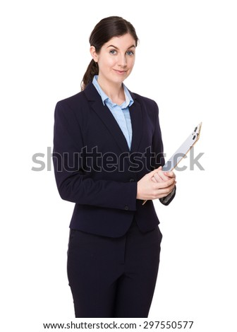 Confident Businesswoman hold with clipboard