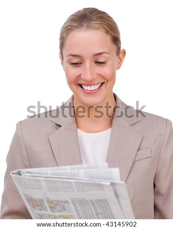 Confident businesswoman reading a newspaper against a white background - stock photo
