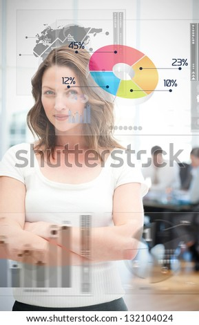 Confident businesswoman using different chart interfaces with statistics