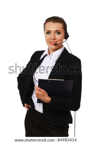 Confident businesswoman with headset isolated over white background - stock photo