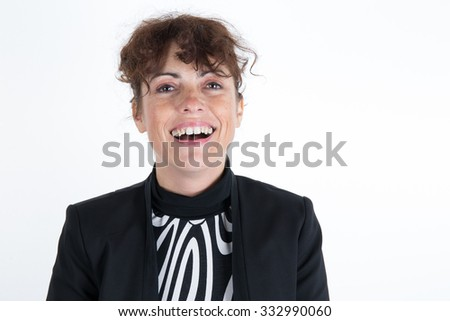 Confident caucasian woman in black and white isolated on white - stock photo