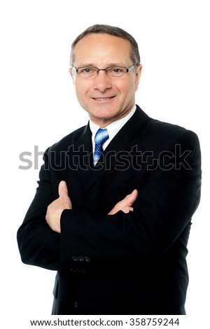 Confident ceo posing in style isolated over white - stock photo