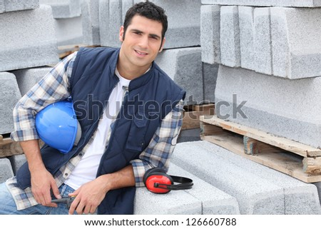 Confident construction worker - stock photo